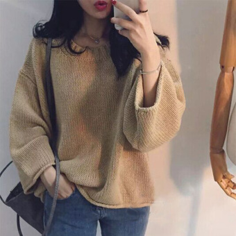 LOOESN cute pullover autumn New style sweater (Camel)