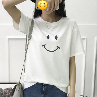 LOOESN Jianyue round neck bottoming shirt T-shirt (White smiley short sleeved)