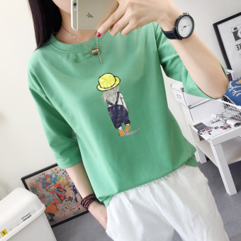 LOOESN Korean-style female New style base Top T-shirt (5003 green)