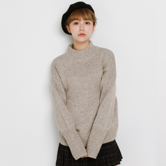 LOOESN Korean-style female pullover thick Top high collar sweater (Khaki)