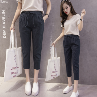 LOOESN Korean-style Female Summer New style casual pants cotton linen pant pants (Black)