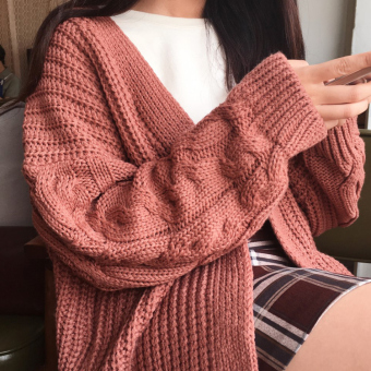 LOOESN Korean-style New style thick sweater cardigan twist sweater (Soil red)