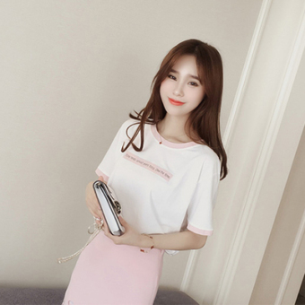 LOOESN Korean-style short sleeved t-shirt New style Female Summer (Pink [1029])