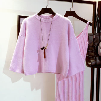 LOOESN Korean-style solid color autumn and winter pullover knitted shirt Shishang sweater (Pink)