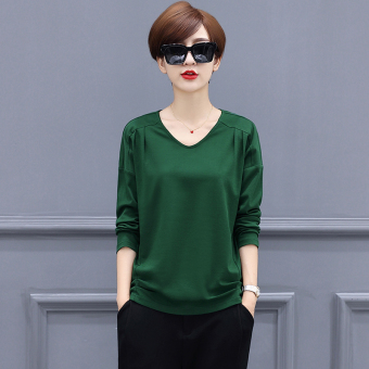 LOOESN Korean-style solid color female New style Top T-shirt (Dark green color)