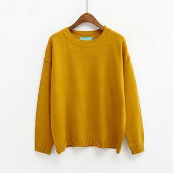 LOOESN Korean-style solid New style basic Top pullover sweater (Ginger yellow)