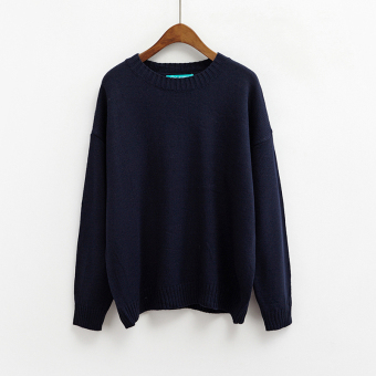 LOOESN Korean-style solid New style basic Top pullover sweater (Sapphire blue color)