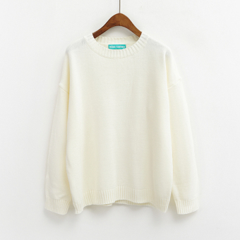 LOOESN Korean-style solid New style basic Top pullover sweater (White)