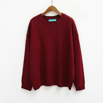 LOOESN Korean-style solid New style basic Top pullover sweater (Wine red color)