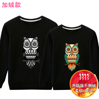 LOOESN Korean-style student hooded pullover hoodie couple's hoodie (Black Plus Velvet)