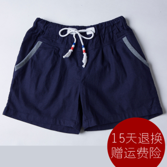 LOOESN linen female versatile casual pants shorts (Sapphire blue color)