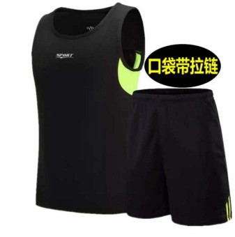 LOOESN men summer zip shorts breathable running clothes T-shirt (861 sleeveless models black)