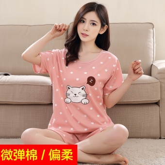 LOOESN mm200 cute cotton summer short sleeved home clothes women pajamas (Lotus color)