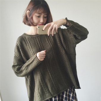LOOESN solid color autumn New style long-sleeved short knitted shirt (Green)