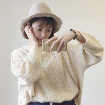 LOOESN solid color autumn New style long-sleeved short knitted shirt (Off-white color)