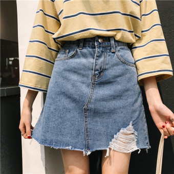 LOOESN solid spring New style high-waisted half-length skirt (Blue)