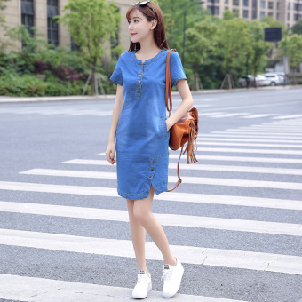 LOOESN thin mid-length Plus-sized dress summer denim skirt