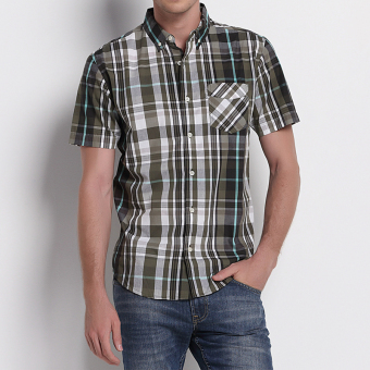 Loose European and American cotton Plus-sized short sleeved shirt plaid casual shirt (T89) (T89)