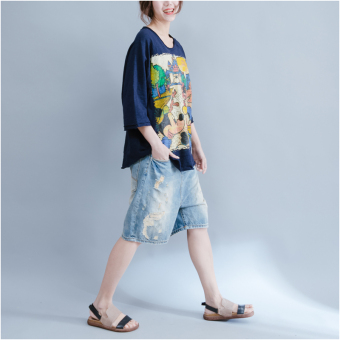 Loose female New style printed Top T-shirt (Dark blue color) (Dark blue color)