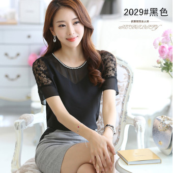 Loose Female Summer short sleeved Plus-sized half-length skirt chiffon shirt (White chiffon shirt)