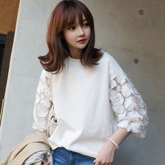 Loose Korean-style female mid-length Top cotton sleeve T-shirt (White)