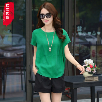 Loose Korean-style female slimming Plus-sized Top chiffon shirt (Green)
