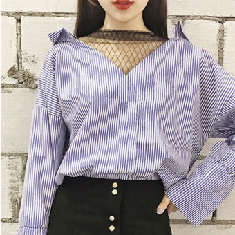 Loose Korean-style mesh New style v-neck shirt (Blue stripe) (Blue stripe)