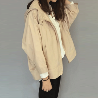 Loose Korean-style solid New style female hooded coat (Camel) (Camel)