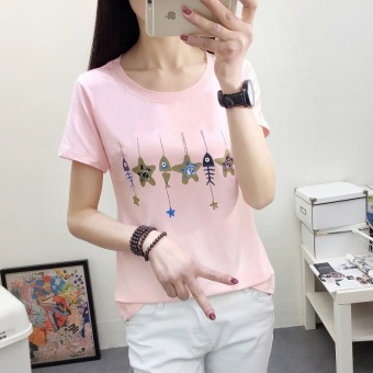 Loose Korean-style spring and summer New style T-shirt (2338 (pink)) (2338 (pink))