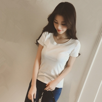 Loose Korean-style white female Short sleeve T-shirt solid color short sleeved t-shirt (Paragraph white [831]) (Paragraph white [831])