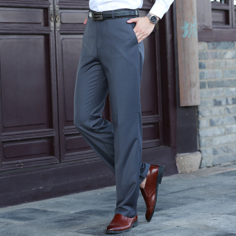 Loose men Slim fit professional suit pants men's trousers (Dark gray color)