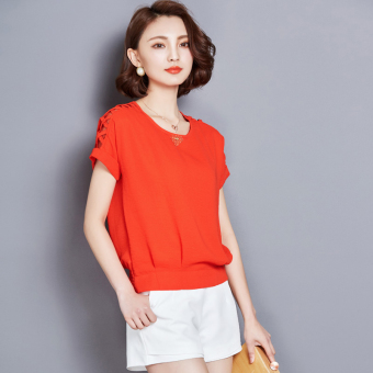 Loose New style Plus-sized base shirt (Orange)