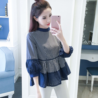 Loose stitching spring New style lace striped shirt (Blue) (Blue)