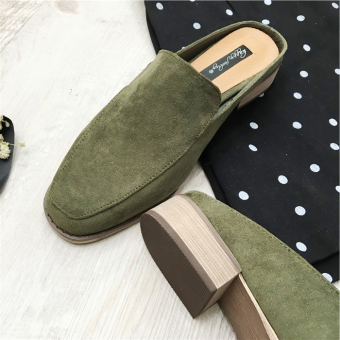 LR suede spring and summer matte square head peas shoes (Dark green color)