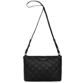 Mango Touch Quilted Sling Bag Cross body Top Zip Leather Handbag -Black - intl