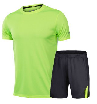 Men summer fitness running shuttlecock clothes (339 black and green suit)