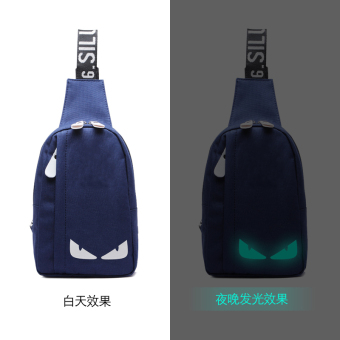 Men's chest pack Korean-style casual bag men messenger bag sports men and women shoulder bag men backpack bag Stylish man bag fashion (034 dark blue luminous monster)