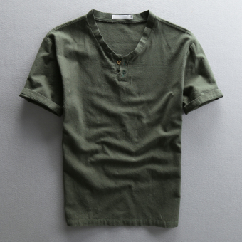Men's Chinese-style loose-fitting cotton linen short-sleeve shirt