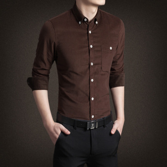 Men's Korean-style Business Slim Fit Long Sleeve Corduroy Solid Color Shirt (Coffee color)