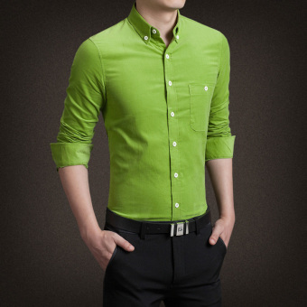 Men's Korean-style Business Slim Fit Long Sleeve Corduroy Solid Color Shirt (Grass green)