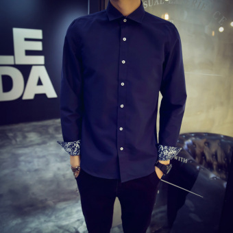 Men's Korean-style Slim Fit Long Sleeve White Solid Color Shirt (Dark blue color version2)