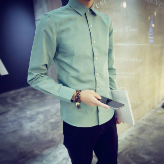 Men's Korean-style Slim Fit Long Sleeve White Solid Color Shirt (Green beans color)