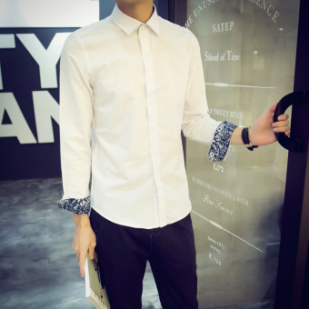 Men's Korean-style Slim Fit Long Sleeve White Solid Color Shirt (White)