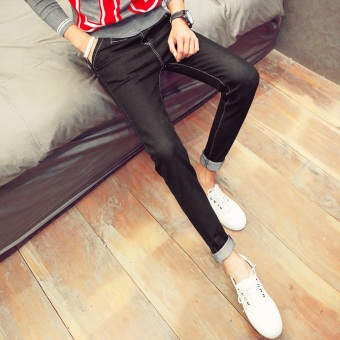 Men's Korean-style Slim Fit Tattered Knees Cropped Jeans (Black 030 jeans)