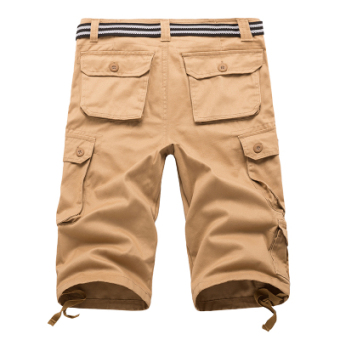 Men's Large Size 100% Cotton Thin Leisure Pants (Khaki 7 points)