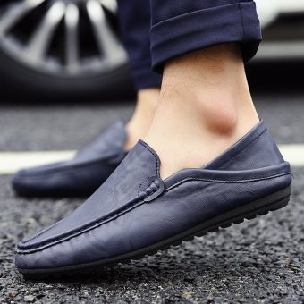 Men's Leather Fashion Loafer Shoes Casual Driving Shoes Blue