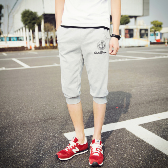 Men's Thin Slim Fit Sport Cropped Pants (DK44-H-light gray color)