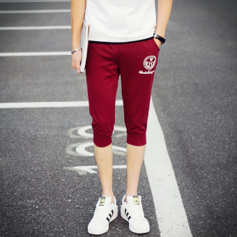 Men's Thin Slim Fit Sport Cropped Pants (DK44-H-wine red color)