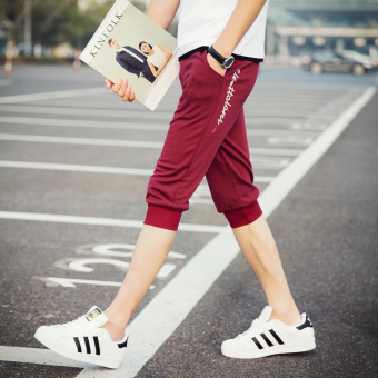 Men's Thin Slim Fit Sport Cropped Pants (DK47-W-wine red color)