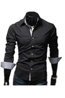 Mens Casual Shirt with Contrast Neck Band (Black)